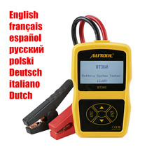 Original Autool BT360 Auto Battery Tester 12V Automotive Battery Analyzer 2000CCA 220AH Multi-Language BAD Cell Test Car Tools