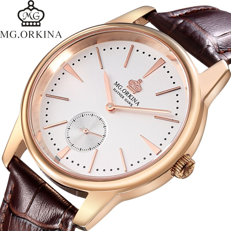 MG.Orkina Luxury Original Mens Sapphire Quartz Watches Wristwatch Genuine Leather Strap Gift Box Free Ship<br>