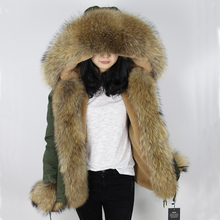 OFTBUY 2017 new short Khaki winter jacket women outerwear thick parkas natural real raccoon fur collar coat hooded pelliccia