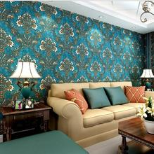 Vintage European Style Non-woven Flowers Damask Wallpaper Navy blue 3D Wall Paper Living Room Bedroom Wallpaper For Walls  Papel
