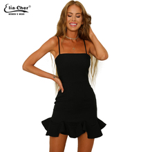 Buy Top Popular Summer Women's Dresses Sexy Solid Color Slim Bodycon Sleeveless Ruffles Mini Dresses Daily Evening Party Dress 9172 for $24.25 in AliExpress store