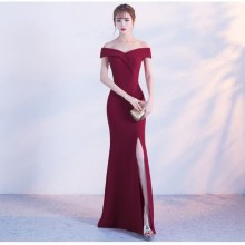 Prom-Gown Bridal-Dresses Slit Robe-De-Soiree Dubai Wedding Burgundy Girls Long Off-Shoulder