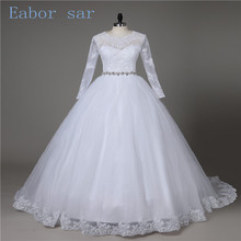 National retro lace long-sleeved wedding Bateau half-length pearl chiffon princess ball dress cheap bride dress