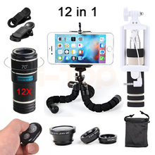 New 12X Telephoto Lentes Zoom Lens Macro Fish eye Wide Angle Lenses With Tripod Clips Selfie Stick For Android Bluetooth Shutter(China)
