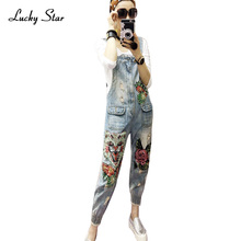 Vintage BF Cartoon Flower Sequins Women Pocket Jumpsuit Denim Slim Bodycon Jeans Jumpsuits Femme Jeans D342(China)