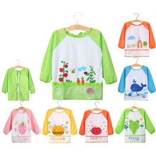 Cute Baby Bibs Infant Toddler Waterproof Long Sleeve Bib Children Boy Girl Art Apron Animal Smock Bibs baberos(China)