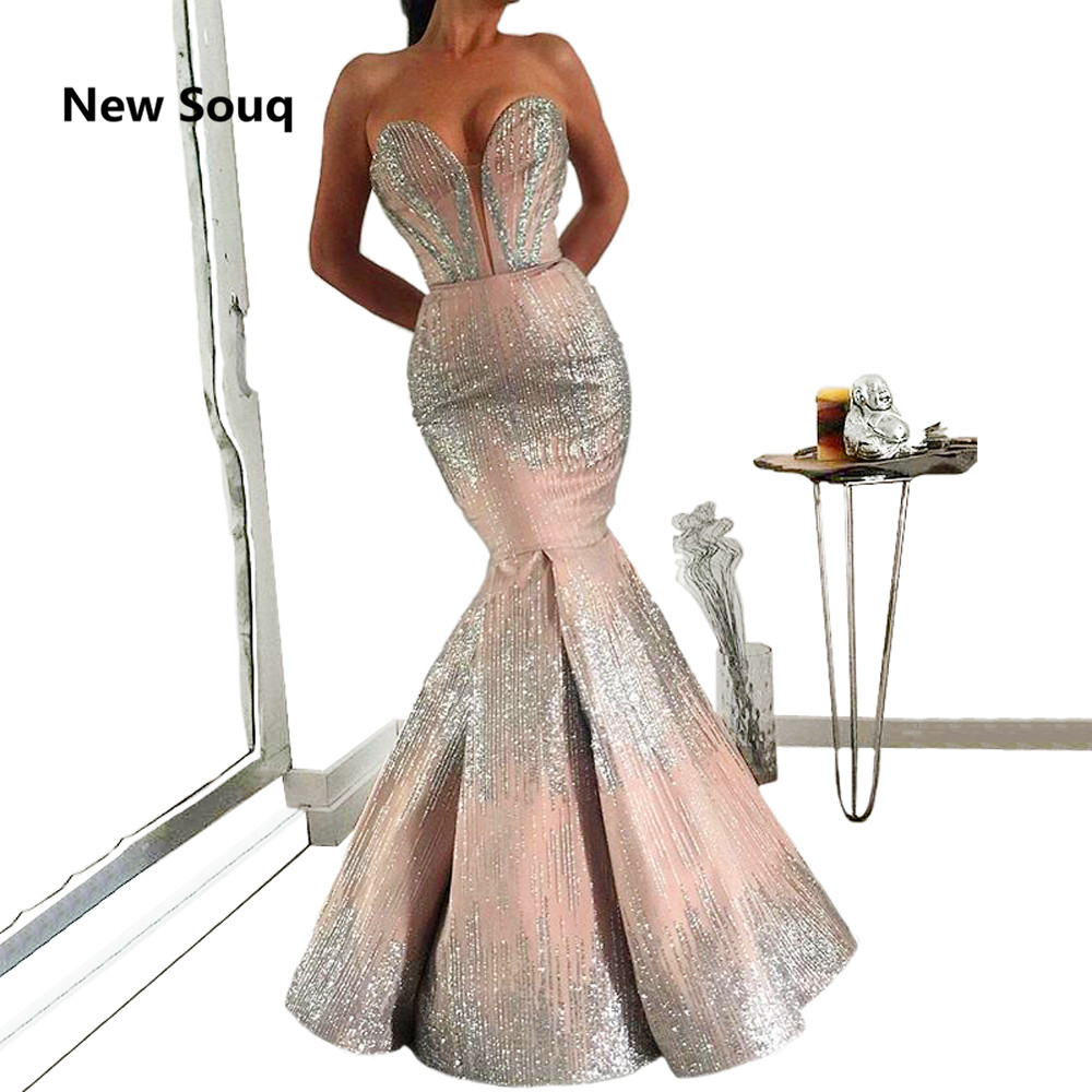 2019 New Mermaid Prom Dresses Sequin V-neck Formal Dress Evening Gowns robe de soiree Red Carpet Dresses