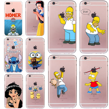 Homer Case for iphone 5 5s SE 6 6s 7 8 Snow White Cover Minions Cheap Bag Stitch Soft TPU Silicone Transparent Fundas Simpson(China)