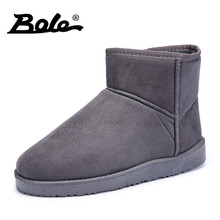 BOLE Winter New Plush Inside Men Snow Boots Fashion Flock Slip on Men Ankle Boots Keep Warm Flat Men Cotton Boots Big Size 36-45(China)