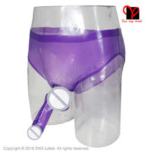 Sexy Transparent Purple Latex briefs with glued penis sheath Rubber underwear with condom pants Shorts KZ-020(China)