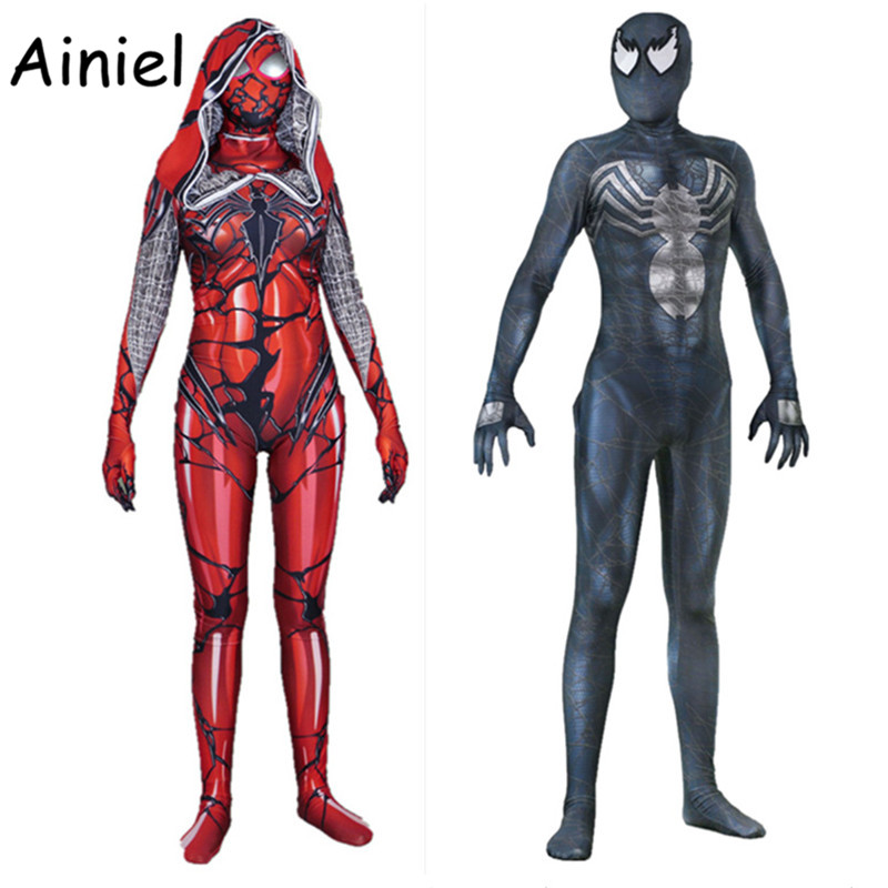 Ainiel Venom Suit Edward Brock Carnage Spider Gwen Stacy Cosplay Costume Spider Man Bodysuit Superhero Spiderman Zentai Adult