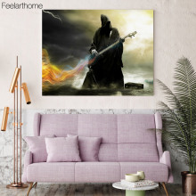 1 Piece Canvas Painting Black Cloak Demon Guitar Poster Wall Art and Prints Home Decor Wall Pictures for Living Room XA1532C(China)