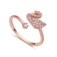 Hot Sale High Quality Luxury AAA CZ Stone Elegant Swan Rings for Women Rose Gold Zirconia Jewelry Ring for Party Wedding Gift