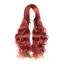 "MapofBeauty Mix Red cosplay wig 32"" Long wavy synthetic wigs Heat Resistant Costume Party False Hair Pieces Women Hairstyles(China)"