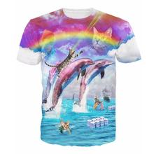 Rainbow Dolphin Kitty T-Shirt Splash With Cats Dolphins Rainbows Bud-Light Vibrant Tee Summer Style Women Men T Shirt Basic Tops