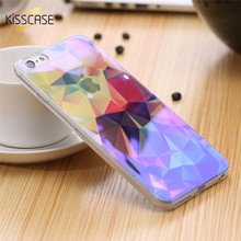 KISSCASE Blue Ray Light Silicone Case For iPhone 6 6s Plus 5 5s SE 7 7 Plus Case Fashion Art Ultra Slim Thin Back Cover Coque