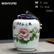 1pcs Ceramic cans 300ml ~ 400ml sealed tea cans tea tea caddy container ceramic jar tea kitchen canister set with lid(China)
