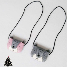 JC KIDS Gray & Pink Girls Bear Coin Purse Handmade Baby Small Bag Kids Messenger Bag Cute Small Bag(China)