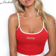 "Macheda 2018 New Fashion Women Tank Tops Red White Letter ""Honey"" Print Sexy Casual Sleeveless Camisole Crochet Croptop(China)"
