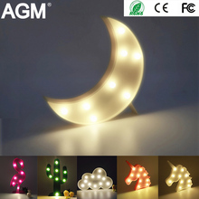 AGM Luminaria Moon Star Cactus LED Marquee Letter Light Standing Lamp 3D Night Light Flamingo Nightlight For Kid Gift Decoration(China)
