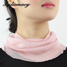 100% real Silk Scarf Female Sleeve Head Collar Scarf False Collar Korean Small Silk Scarf Scarves Warm Winter