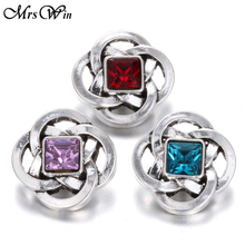 10pcs/lot New Snap Jewelry Rhinestone Chinese knot 18MM Snap Buttons Vintage Alloy Snap fit Snap Bracelet S679(China)