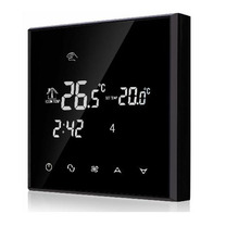 2 pipes 4 pipes Touch Screen Fan coil Programmable Thermostat with Black acrylic(China)