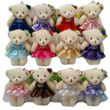 Wholesale 50PCS/lot 12CM lovely girls plush toy doll stuff&plush mini bouquets bear toy Christine gift 12 colors to choose