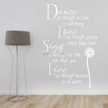 Famous English inspirational Quotes Removable Large Wall Decals Vinyl Stickers for Living Room Bedroom Home Decor