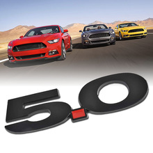Mayitr Car Styling 3D Metal 5.0 Emblem Car Badge Sticker Decal for Ford Mustang Black Auto Accessories 13.5x3.4cm