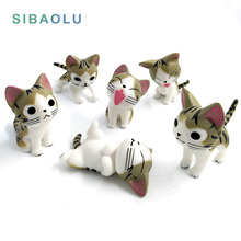 6pcs/lot Cheese cat miniature figurine toy cartoon animal statue Model Kids gift japanese anime Resin craft ornaments TNJ028(China)