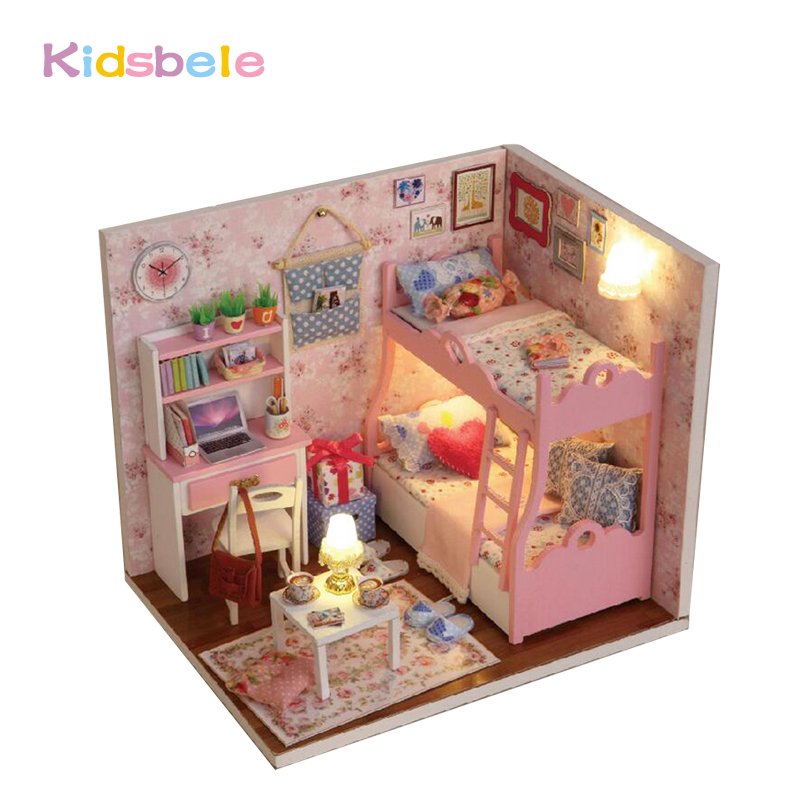 DIY House Toys Kids Handmade Doll House Furniture Wooden Toys Light Pink Room Educational Toys Exercise Ability Toys For Girls(China)