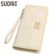 SUOAI Wallet 2016 Women New Long Purse Vintage Style Female Brand Wallet Fashion Zipper Girls Handle Purse(China)