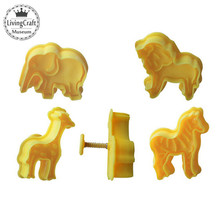 4PCS/SET New 3D Carton Cookie Stamps Cutter Animal DIY Biscuit Cake Mould Cutter Fondant Baking Mould Cooking Decorating Tools(China)