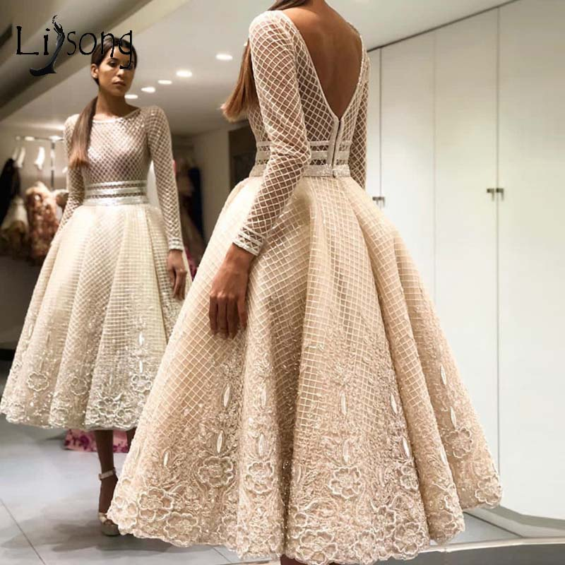 Elegant Bige Color Unique Lace Evening Dresses Full Sleeves V-Back Ankle Length Prom Gowns 2019 Robe De Soiree Party Dresses(China)