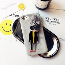 Manual Knitting Wool Hariy Hats Plastic Mobile Phone Protective Cases For iPhone7 Back Covers Three-Dimensinal Shell For iPhone7