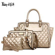 Women 3pcs bags for sets sale socialite composite bag elegant to take with solid color handbag shoulder bags messenger bag purse(China)