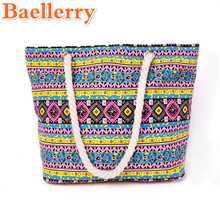 2017 Women Shoulder Beach Bags Lady Canvas Handbags Two Hemp Rope Shoulder Belt Shopping Bags Beautiful Flower Pattern Totes