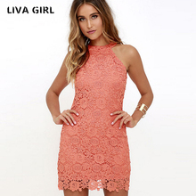 Buy liva girl Womens Elegant Wedding Party Sexy Night Club Halter Neck Sleeveless Sheath Bodycon Lace Dress Short 2018