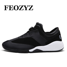 FEOZYZ Brand Men Running Shoes PU Leather Daily Warking Shoes Comfortable Footwear 2017 Spring Mens Sneakers Sport Shoes 4 Color(China)