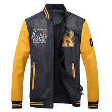 2017 New Autumn Winter Motorcycle Leather Jacket Men Casual Baseball Coat Bomber Pilot Embroidery Faux Leather Jacket Outwear(China)