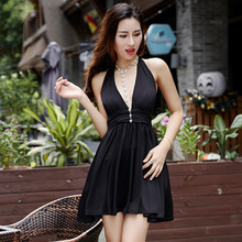 Summer Halter Suspenders Party Dress Women Sexy Halter Low Cut Nightclub Dresses Sleeveless Mini Pleated Bandage Dress Vestidos(China)