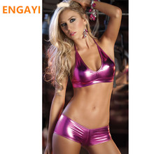 Buy ENGAYI Brand Faux Leather Latex Women Erotic Lingerie Sexy Underwear Babydoll Nuisette Porn Sexy Costumes Langerie A1043