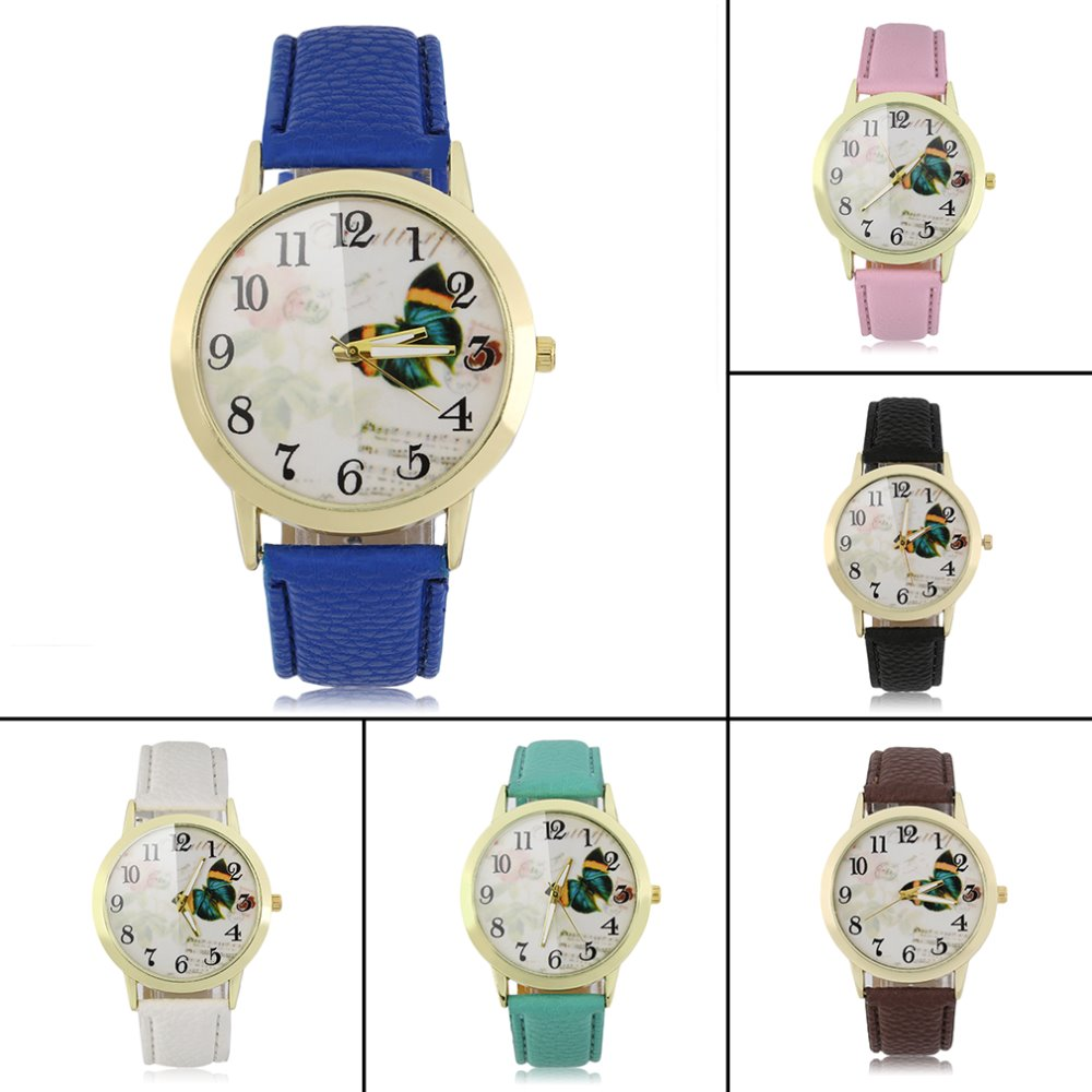 Round Dial Butterfly Pattern Women Lady PU Leather Band Quartz Wrist Watch New Hot Selling<br><br>Aliexpress