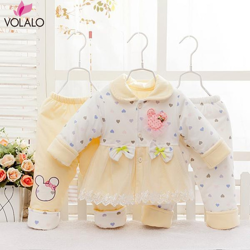 2016 Princess Style Autumn &amp;Winter New Born Infant baby girl clothes clothing sets 3 pieces lace sweet 2 color<br><br>Aliexpress