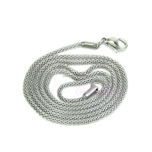 Fashion 2mm Unisex Stainless Steel Snake Chain Stainless Steel Necklace Silver -W128(China)