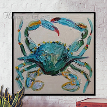 Superb Artist Hand-painted High Quality Funny Animal Crab Oil Painting on Canvas Modern Crab Oil Painting for Kitchen Decoration(China)
