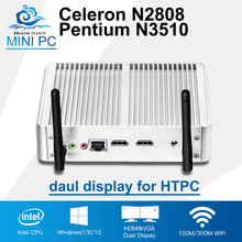 2*HDMI Display Celeron N2808 Intel Mini PC Pentium N3510 Quad Core Windows 10 Mini Computer HD HTPC 300M Wifi TV Box Desktop