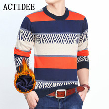 2017 Autumn Winter Mens Fleece Pullovers Men Stripe Fashion Casual Sweaters Warm Garment Velvet Sweater for Men Plus Size 3XL 5z(China)