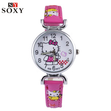 Hello Kitty Watch Children's Watches Leather Kids Watches Girl Cartoon Watch Baby Clock Children Gift saat relogio montre reloj